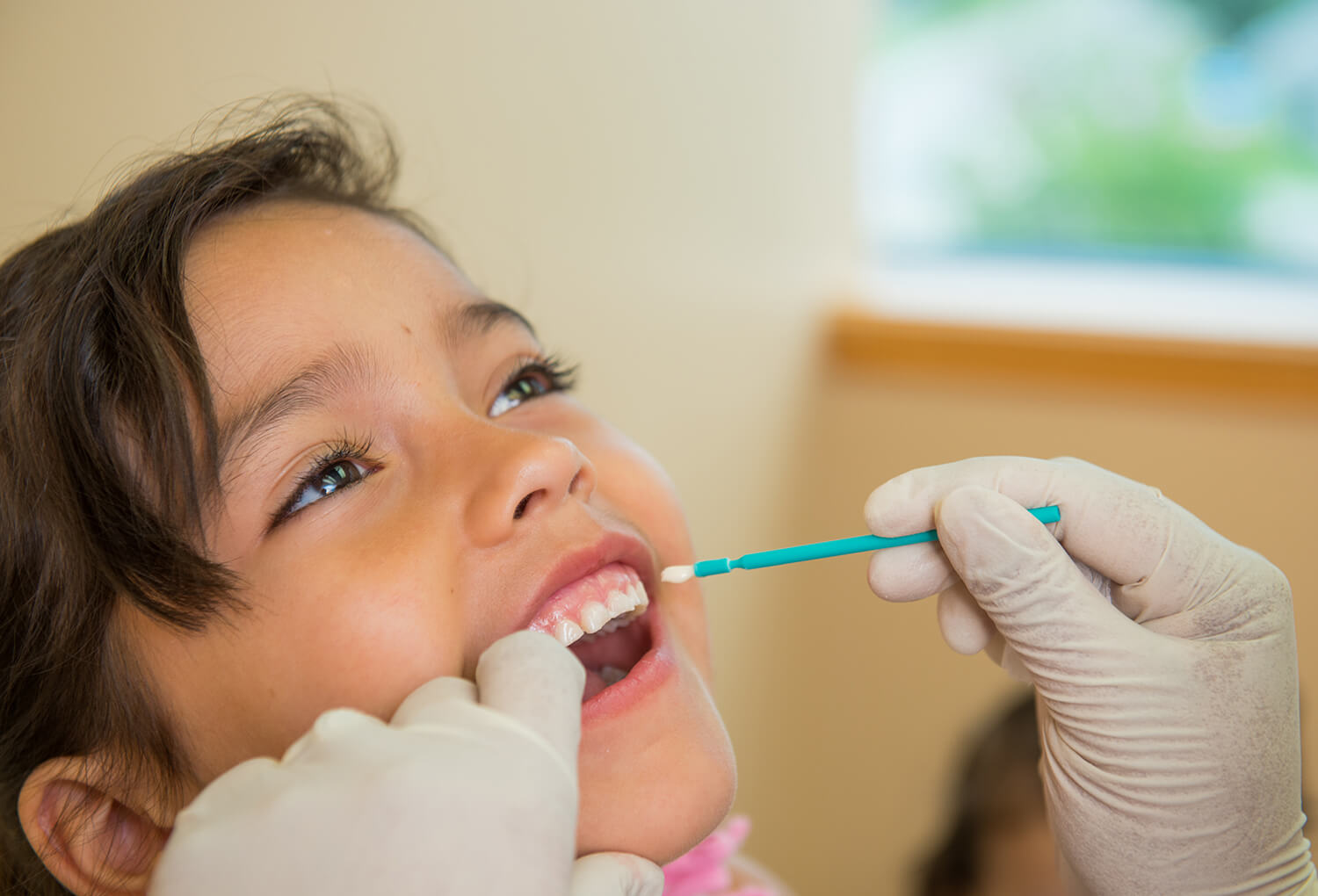 Child getting teeth checked